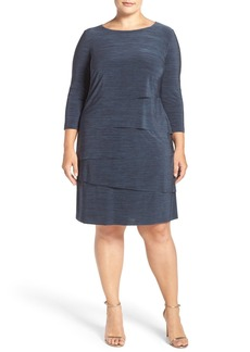 Tahari Tiered Jersey Sheath Dress (Plus Size)