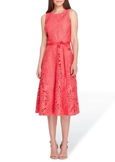 Tahari Tropical Leaf Lace A-Line Dress (Regular & Petite)