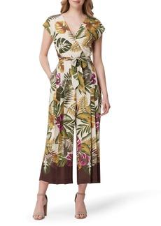 Tahari Tropical Print Crop Wide Leg Jumpsuit