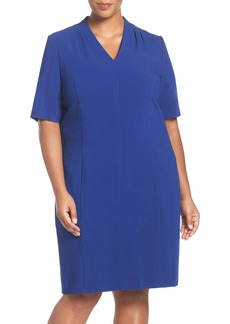 Tahari Tuck Detail Seamed Sheath Dress (Plus Size)