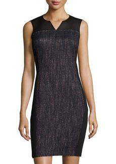 Elie Tahari Tweed Mesh-Yoke Sleeveless Dress