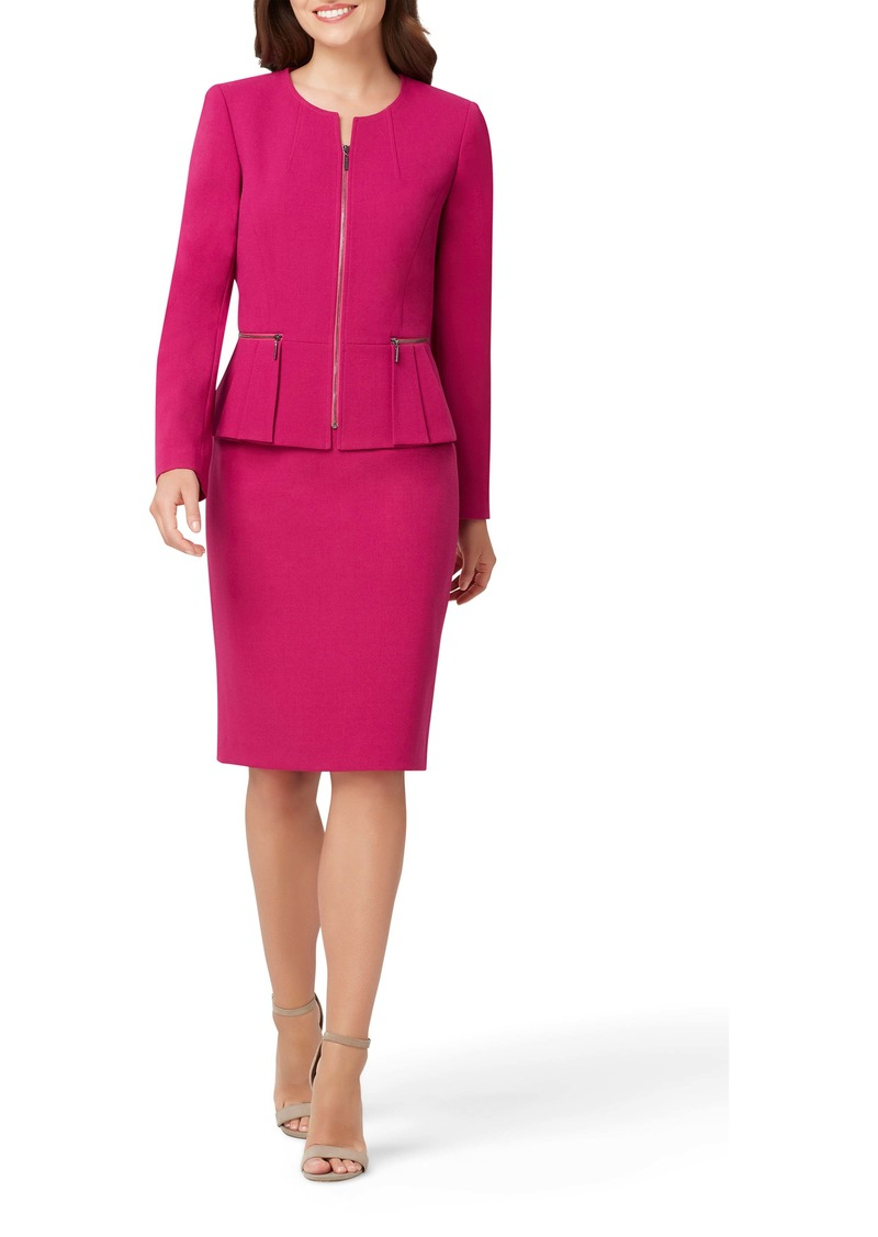 Tahari Two-Piece Zip Front Peplum Suit