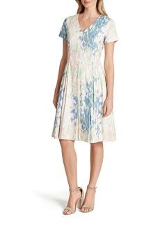 Tahari V-Neck Jacquard Fit & Flare Dress