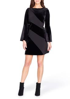 Tahari Velvet Bell Sleeve Shift Dress
