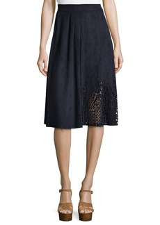 Tahari Woman Lorie Pleated A-Line Skirt