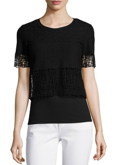 Tahari Woman North Cropped Blouse W/ Lace Trim