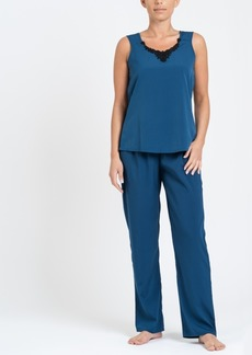 Tahari Women's Sleeveless Top and Ankle Length Pant Pajama Set
