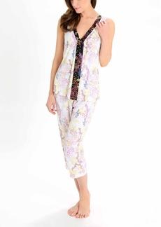 Tahari Women's Sleeveless V-Neck Top and Capri Pant Pj Set