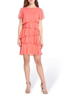 Tahari Yoryu Chiffon Ruffle Dress