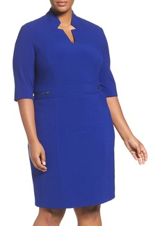 Tahari Zip Detail Sheath Dress (Plus Size)