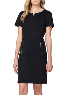 Tahari Zip Pockets Ponte Shift Dress