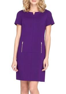 Tahari Zip Pockets Ponte Shift Dress
