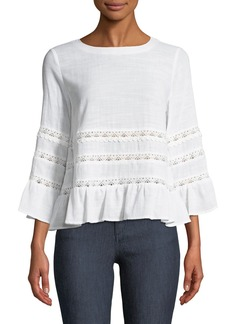 Tahari Taner Lace-Trimmed Bell-Sleeve Blouse
