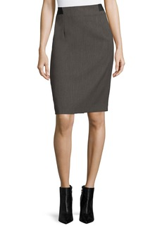 Textured Twill Slim Pencil Skirt