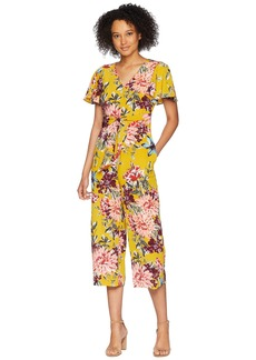 Tahari Tie Front Floral Cropped Jumpsuit
