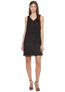 Tahari Tiered Chiffon Dot Dress