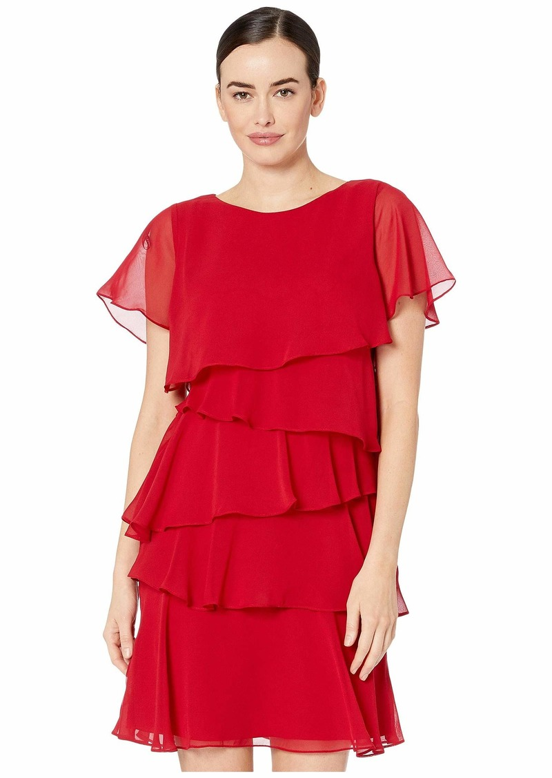 Tahari Tiered Chiffon Flutter Sleeve Dress