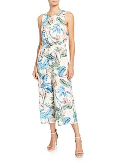 Tahari Tropical Print Tie-Front Jumpsuit