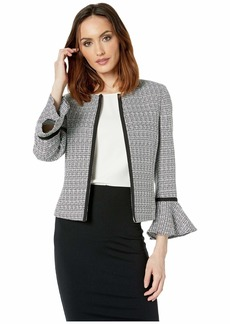 Tahari Tweed Open Jacket with Tulip Sleeve