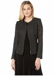 Tahari Tweed Zip Jacket with Metallic Detail