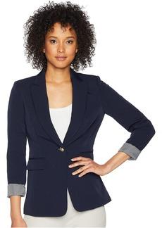 Tahari Twill One-Button Roll Cuff Jacket
