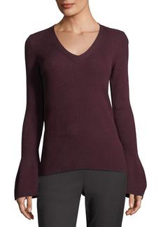 Tahari V-Neck Bell-Sleeve Ribbed Sweater