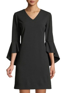 Tahari V-Neck Crepe Tulip-Sleeve Dress