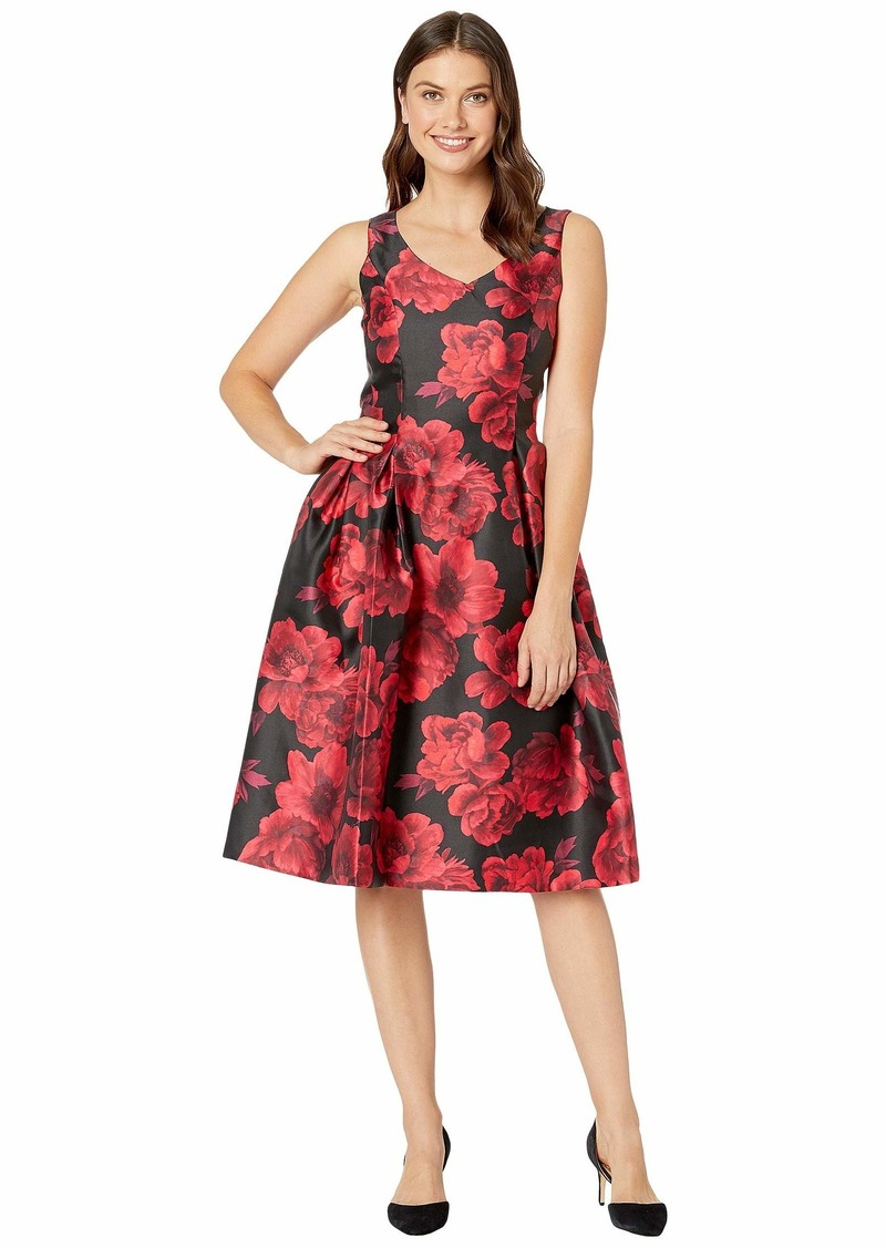 Tahari V-Neck Printed Jacquard Party Dress