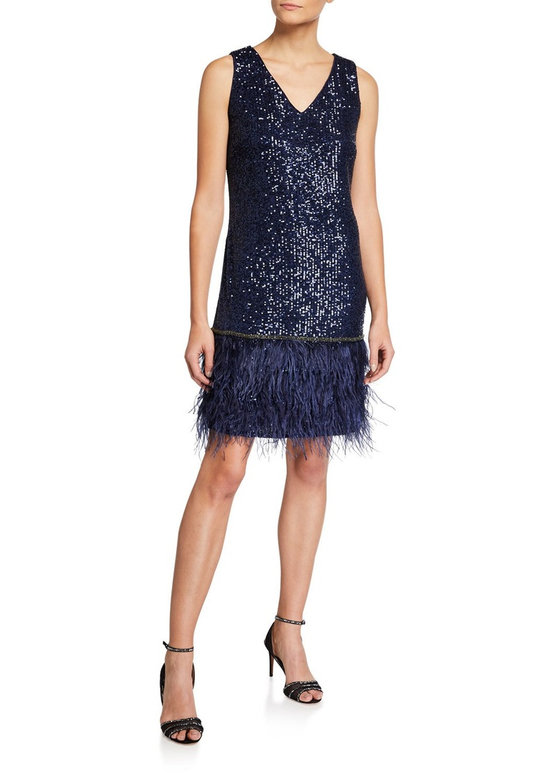 Tahari V-Neck Shift Dress With Faux Feathers