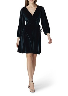 Tahari Velvet Faux-Wrap Dress