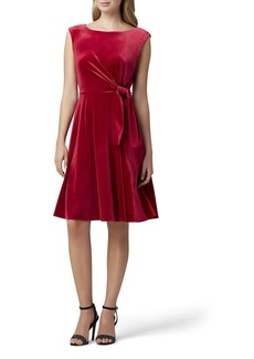 Tahari Velvet Side-Tie Dress