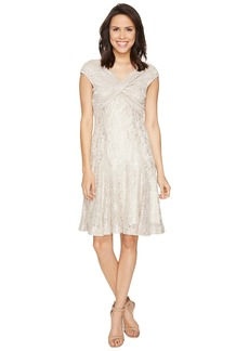 Tahari Wrap Bodice Stretch Lace Dress