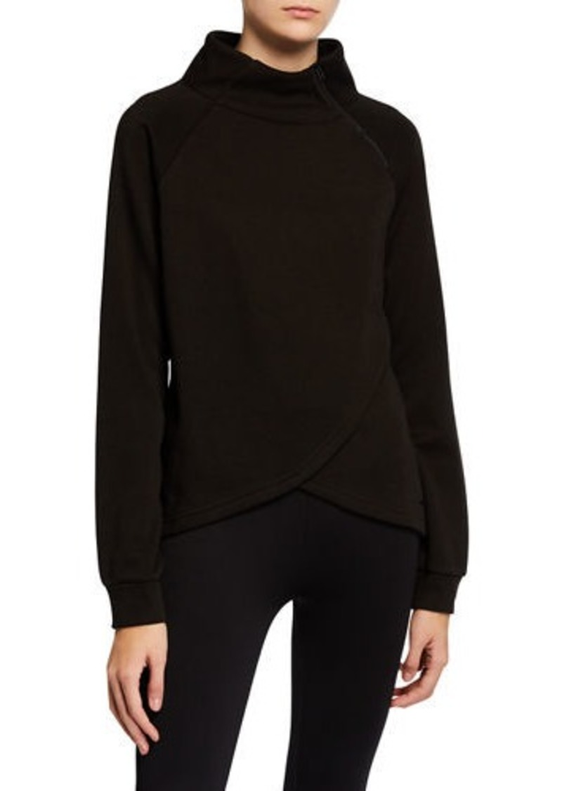 Tahari Zipper Spliced-Front Sweatshirt