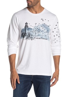 Tailor Vintage Lighthouse Graphic Print Long Sleeve Slub Knit T-Shirt