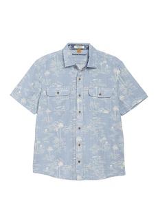 Tailor Vintage Pacific Ocean Print Regular Fit Short Sleeve Shirt