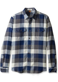 Tailor Vintage Men's Long Sleeve Indigo Flannel Button Down Shirt Buffalo L