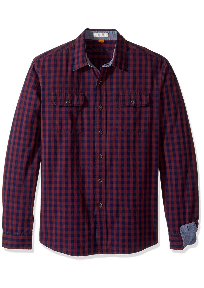 Tailor Vintage Men's Long Sleeve Indigo Gingham Shirt Blue M