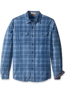 Tailor Vintage Men's Long Sleeve Indigo Plaid Cord Button Down Shirt  M