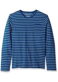 Tailor Vintage Men's Long Sleeve Indigo Sailor Stripe Jersey Pocket Tee  M