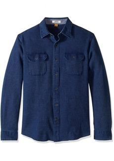 Tailor Vintage Men's Long Sleeve Indigo Waffle Button Down Shirt Dark XL