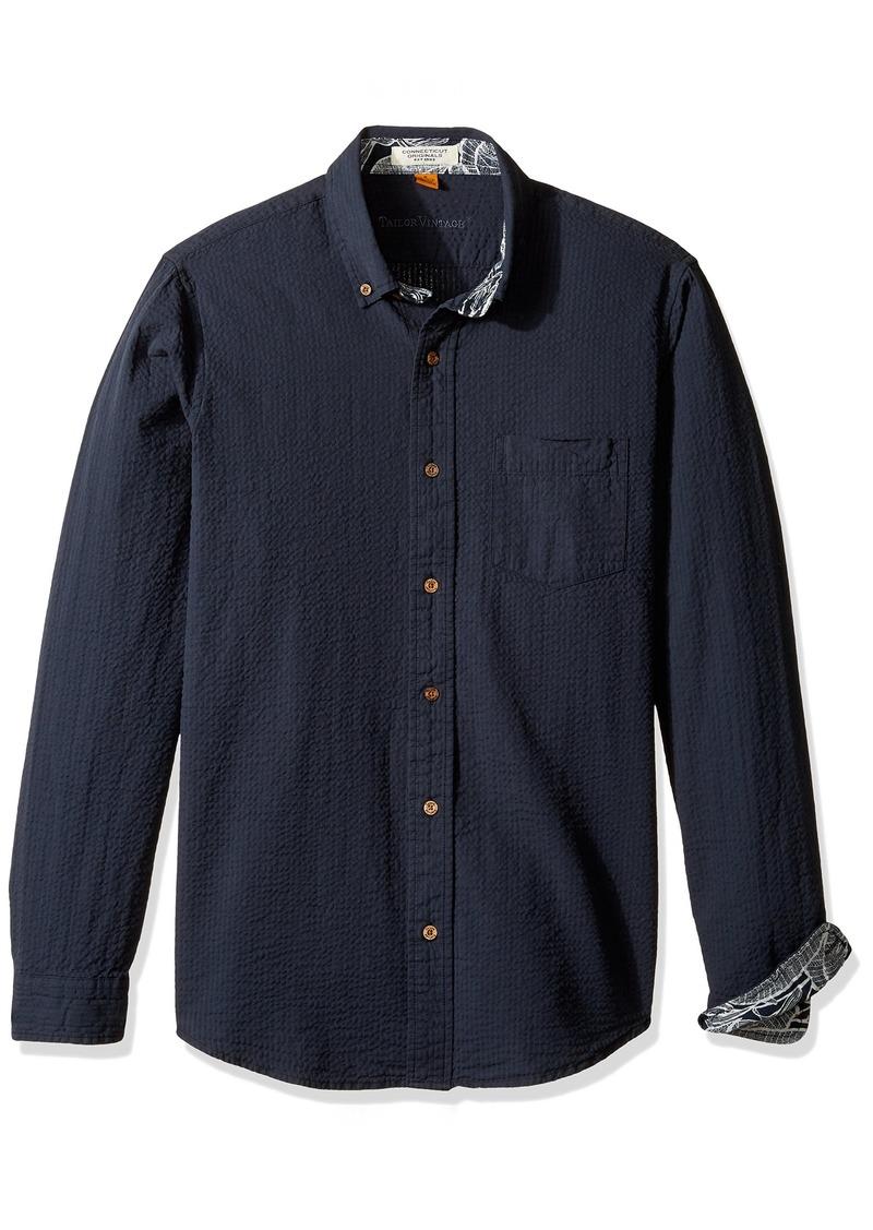 Tailor Vintage Men's Long Sleeve Seersucker Cotton Linen Shirt Navy