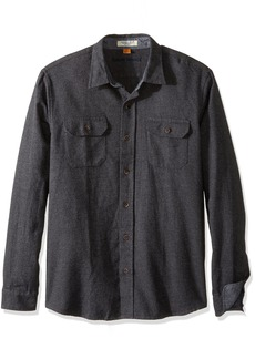 Tailor Vintage Men's Long Sleeve Woven Brushed Twill Flannel Button Down Shirt  Grey Heather M