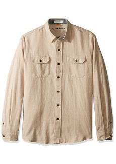 Tailor Vintage Men's Long Sleeve Woven Heather Brushed Twill Flannel Button Down Shirt Oatmeal L