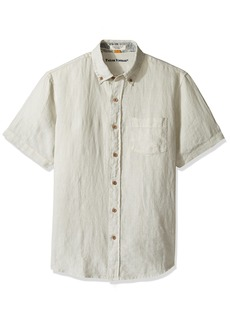 Tailor Vintage Men's Short Sleeve 100% Linen Shirt Cloud