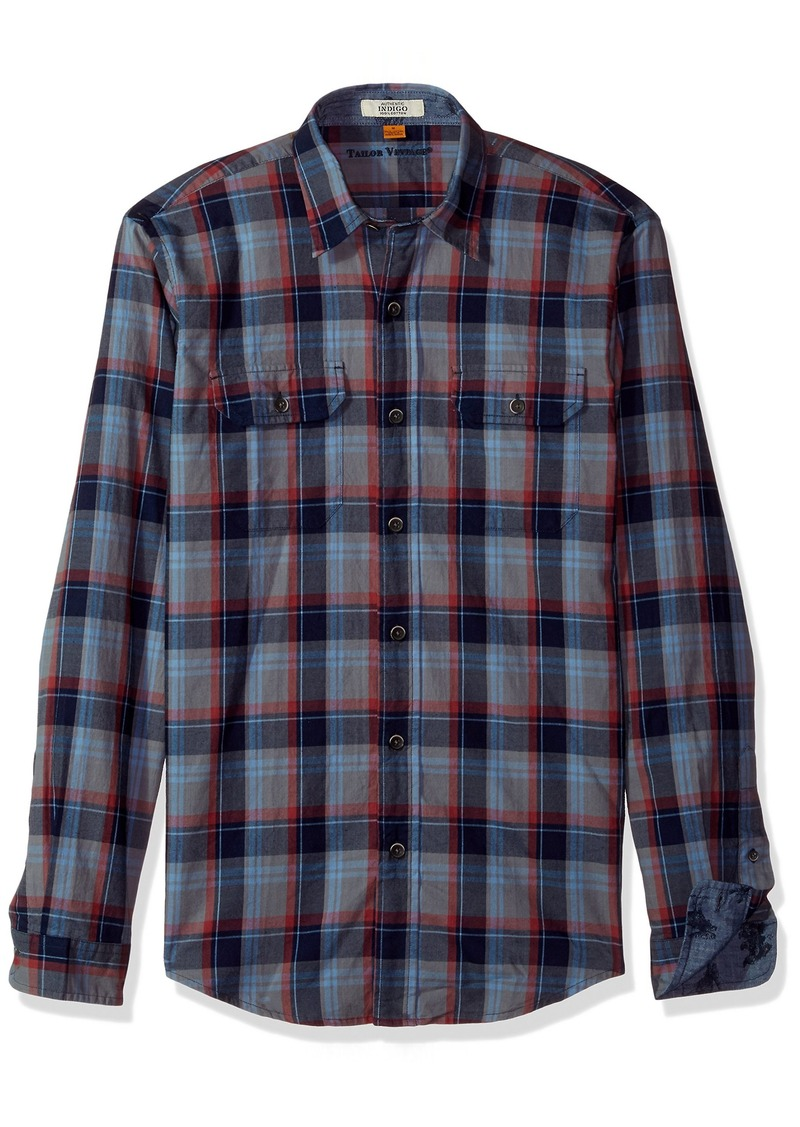 Tailor Vintage Men's Smokey Indigo Plaid Shirt  L