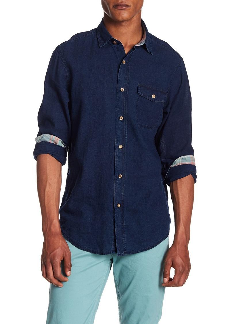 Tailor Vintage Topstitched Linen Blend Regular Fit Shirt