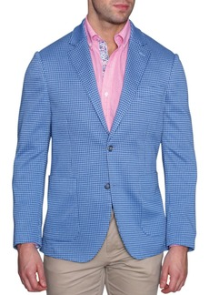 TailorByrd Blue Houndstooth Stretch Knit Two Button Notch Lapel Modern Fit Sport Coat