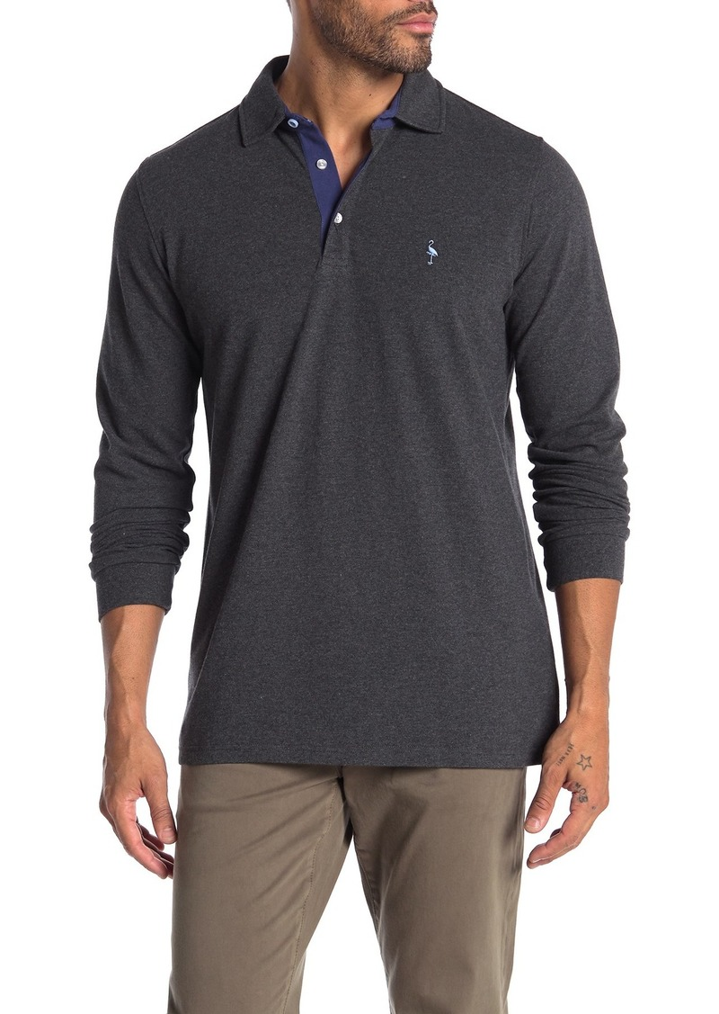 TailorByrd Contrast Placket Long Sleeve Polo