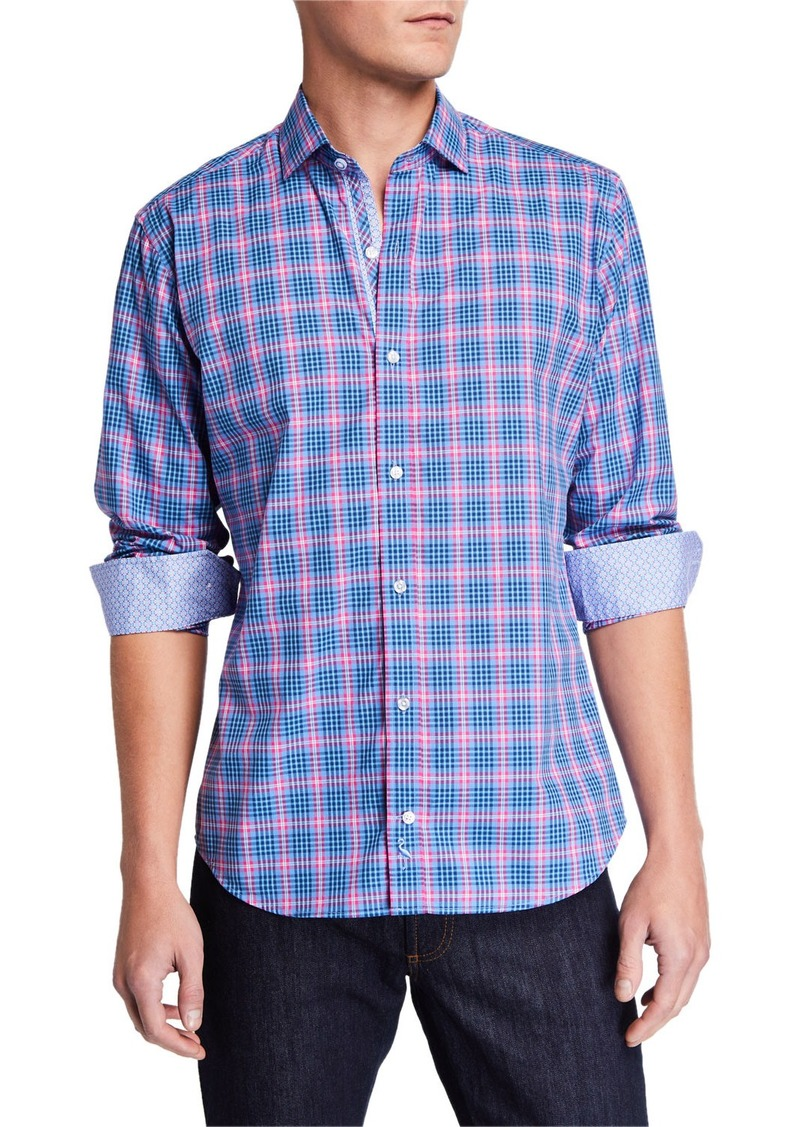 TailorByrd Men's Plaid Long-Sleeve Sport Shirt