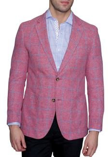 TailorByrd Red Windowpane Two Button Notch Lapel Modern Fit Sport Coat